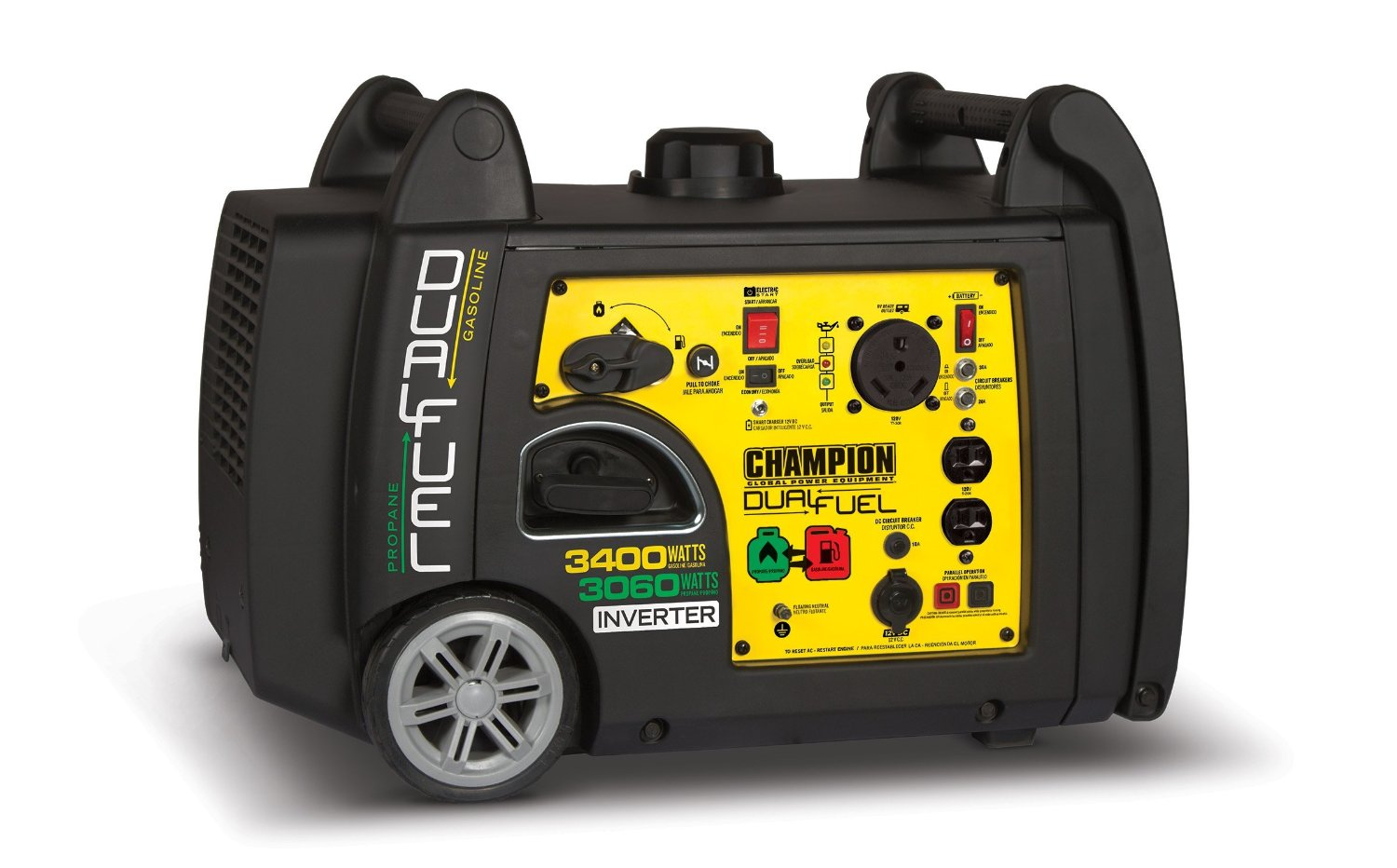 Champion Power Equipment 100263 3400 Watt Dual Fuel RV Ready Portable Inverter Generator