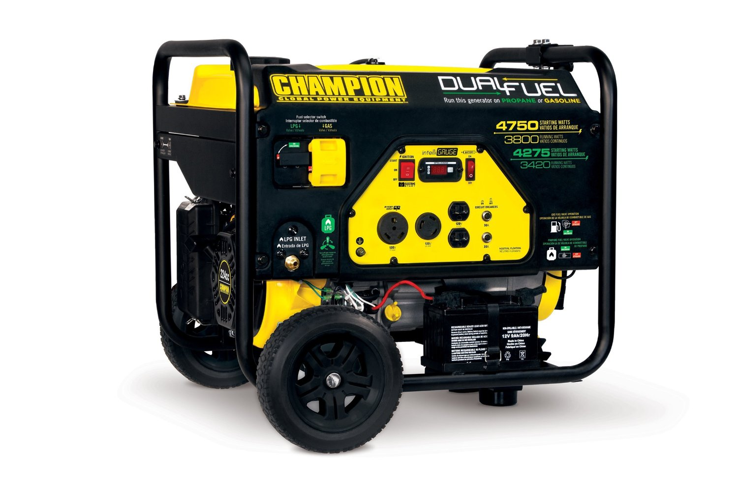 Champion Power Equipment 76533 3800 Watt Dual Fuel RV Ready Portable Generator with Electric Start