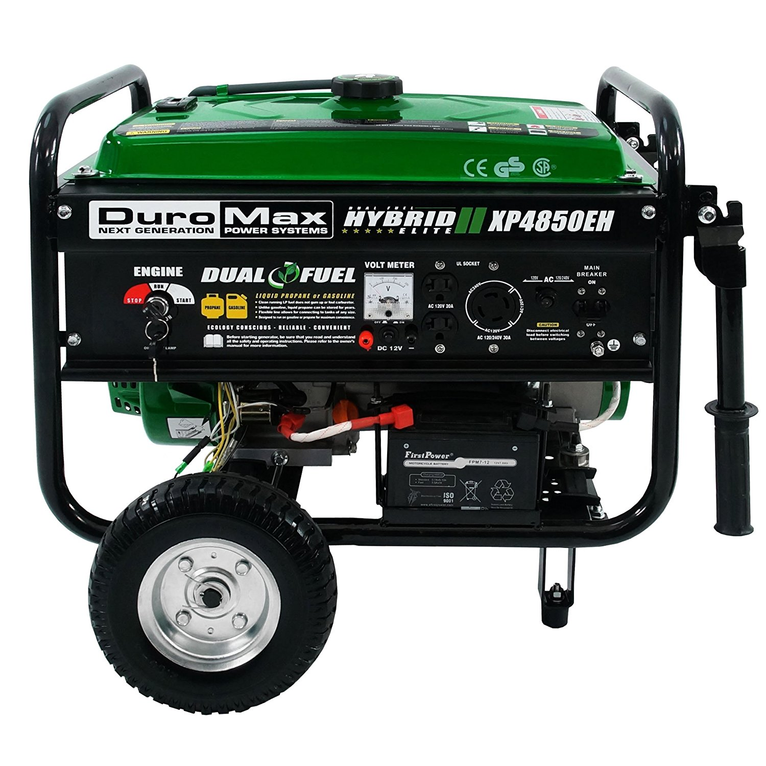 duromax xp4850eh running watts4850 starting watts dual fuel electric start portable generator