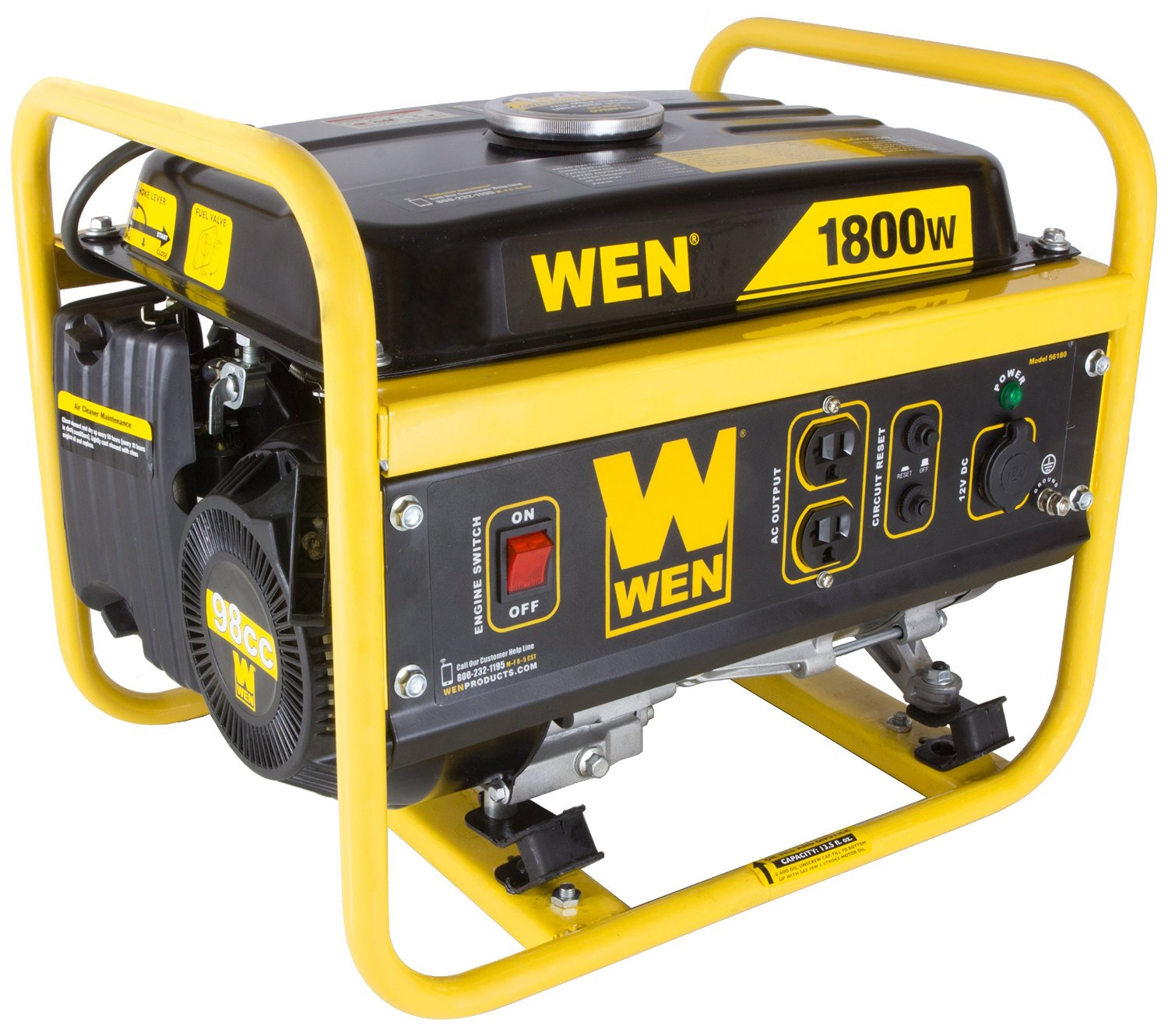 WEN 56180, 1500 Running Watts/1800 Starting Watts, Gas Powered Portable Generator